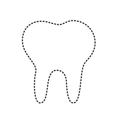 tooth sign black dashed icon vector image