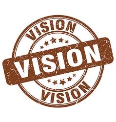 Vision brown grunge round vintage rubber stamp vector
