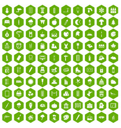 100 drawing icons hexagon green vector