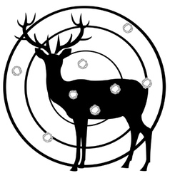 Silhouette of the deer on dartboard vector