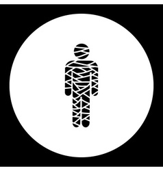 Black isolated ancient mummy simple icon eps10 vector