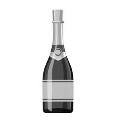 Champagne bottle icon gray monochrome style vector