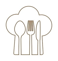 Silhouette chef hat with cutlery inside vector image