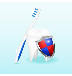 Tooth with a shield and a toothbrush vector