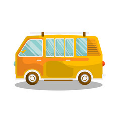 camping yellow bus isolated on white background vector image