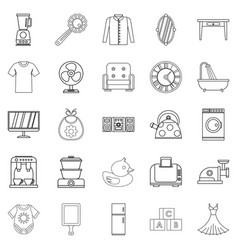 Large dining room icons set outline style vector