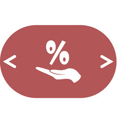 Discount percent with hand icon vector