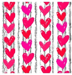 Velentines day pattern with hand painted hearts vector