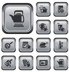 Kitchen and cooking buttons vector