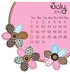 2012 july calendar vector image vector image