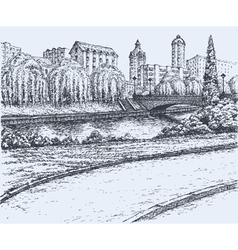 Park trees at river bridge vector