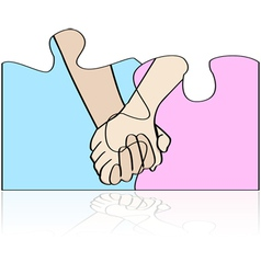 Hands in puzzle vector image