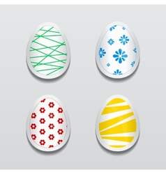 Set of 3d egg stickers with different patterns for vector