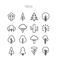 Set of simple monochromatic tree icons vector