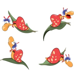 Set of cartoon cute snails vector