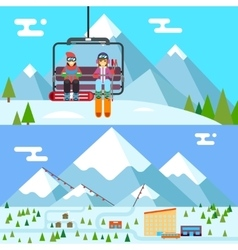 Ski resort holidays skier and snowboarder go up vector