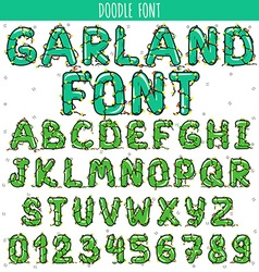 Font garland new year and christmas alphabet vector