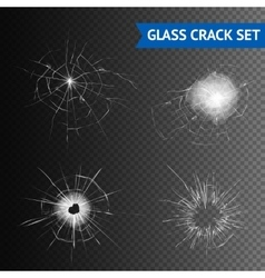 Glass crack images set vector