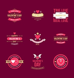 Set of vintage happy valentines day badges or vector