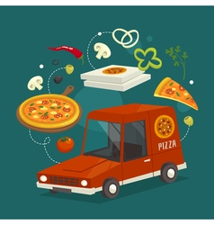 Pizza delivery car concept with food cartoon  fast vector