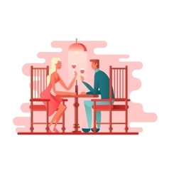 Romantic dinner a couple of lovers vector