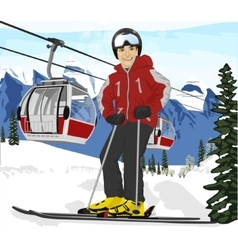 Man skier standing in front of cable cars lift vector