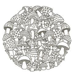 Circle shape pattern with fantasy mushrooms vector