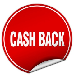 Cash back round red sticker isolated on white vector