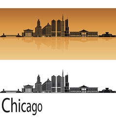 Chicago skyline in orange vector