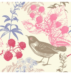 Vintage birds berries pattern background vector