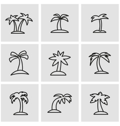Line palm icon set vector