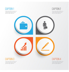 business icons set collection of increasing work vector image vector image