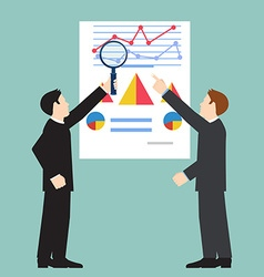 Businessman examining economic statistic web vector image vector image