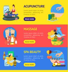 cartoon alternative medicine banner horizontal set vector image vector image
