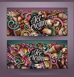 Cartoon doodles ice cream banners vector
