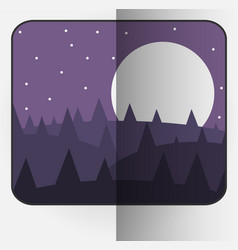 Cartoon style bent photo frame with night nature vector