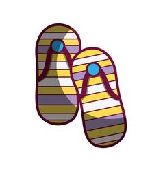 Casual flip flops to feet clothes vector