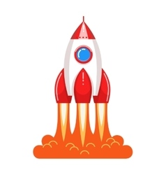 Cool cartoon style launching rocket with flame vector