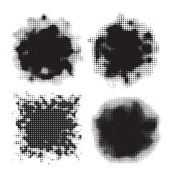 dark halftone set vector image vector image