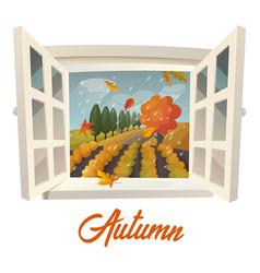 Farm or garden during rain at autumn season vector