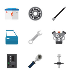 Flat icon service set of muffler brake disk vector