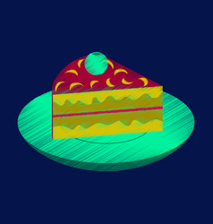 Flat shading style icon berry pie on a plate vector