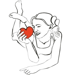 Girl with heart in black 02 vector image vector image
