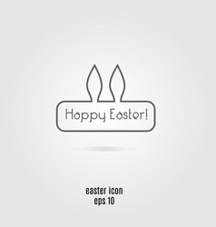 Happy easter line icon banner with rabbit vector