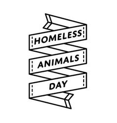 homeless animals day greeting emblem vector image