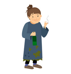Homeless woman smoking and drinking vector