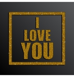 I love you valentine day gold sequins vector