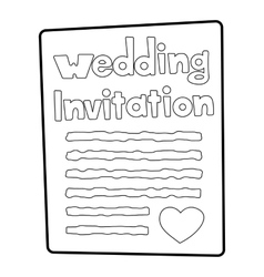 Invitation icon outline style vector