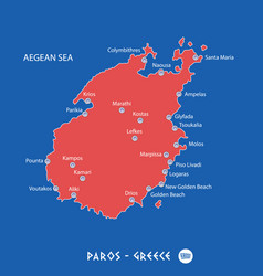 island of paros in greece red map vector image vector image