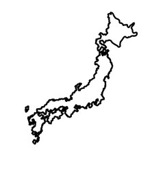 Japanese map island tourims destination line vector